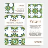 Business cards pattern with Islamic morocco ornament. Includes seamless pattern — Stock Vector