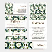 Business cards pattern with Islamic morocco ornament. Includes seamless pattern — Stockvektor