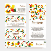 INCLUDES SEAMLESS PATTERN. Colorful gradient radial mesh card set. CMYK — Stok Vektör