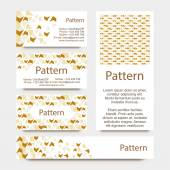 Business cards pattern with broken wall or puzzle ornament. INCLUDES SEAMLESS PATTERN. CMYK — Stok Vektör