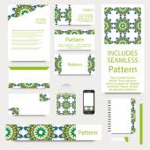 Vector stationery template design with islamic moroccan ornament. INCLUDES SEAMLESS PATTERN. Good document structure - layered and grouped. — Stock Vector