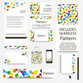 Vibrant confetti cards collection. Includes seamless pattern. — Stockvektor