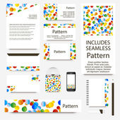 Vibrant confetti cards collection. Includes seamless pattern. — Stok Vektör