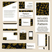Vector stationery template design with modern contrast connected points ornament. INCLUDES SEAMLESS PATTERN. Good document structure - layered and grouped. — Stock Vector