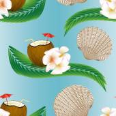 Summer seamless pattern with coconut cocktail and palm tree leaves. — Stock Vector