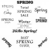 Spring typographic set. Free fonts are used. — Stok Vektör