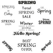 Spring typographic set. Free fonts are used. — Stock Vector