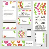 Vibrant watercolor confetti cards collection. Includes seamless pattern. — Stockvektor