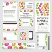 Vibrant watercolor confetti cards collection. Includes seamless pattern. — Stok Vektör