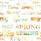 Spring modern typographic seamless pattern. Free fonts are used. — Stock Vector