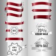 Set of dark red glossy ribbons and labels — Stock Vector #65855095