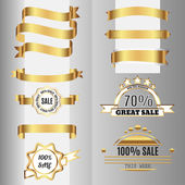 Golden ribbons set and sale labels. Free fonts are used. — Stock Vector