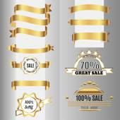Golden ribbons set and sale labels. Free fonts are used. — ストックベクタ