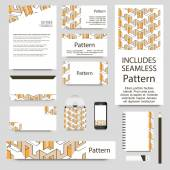 Geometrical card set. INCLUDES SEAMLESS PATTERN — 图库矢量图片