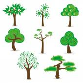 Simple design trees set — Stock Vector