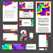 Glossy stripes business cards set. INCLUDES SEAMLESS PATTERN — Cтоковый вектор