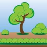 Game asset trees, bushes, grass set — Stock Vector #67982587