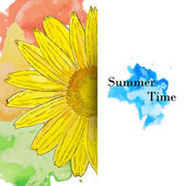 Summer time greeting card with watercolor sunflower — Vector de stock