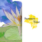 Summer time greeting card with watercolor waterlily — Vector de stock