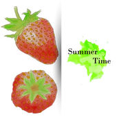 Summer time greeting card with watercolor strawberries — Vector de stock