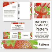 Business cards set with watercolor strawberries. INCLUDES SEAMLESS PATTERN — Stock Vector