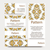 Business cards pattern with Islamic persian ornament. Includes seamless pattern — Cтоковый вектор