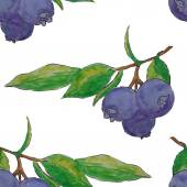 Watercolor blueberries seamless pattern — Stock Vector