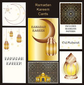 Greeting cards collection. Illuminated arabic lantern on mosque silhouetted shiny brown background for holy month of muslim community Ramadan Kareem. INCLUDES SEAMLESS PATTERN — Vetor de Stock