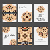 6 universal templates for menu cover, wedding card, book cover vith moroccan islamic ornament. — Vetor de Stock