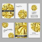 6 universal templates for menu cover, wedding card, book cover with geometrical Klimt inspired ornament. Vintage motif. flat — Stock Vector