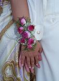Pink Rose Wrist Corsage — Stock Photo