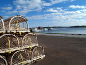 Lobster Traps on the Wharf with Copy Space — Stock Photo