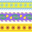 Vector eps10. Three vector borders with flowers, polka dots, stripes and gingham with accent quilting stitches. — Stock Vector #55644539