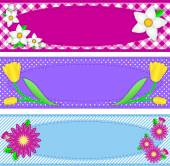 Eps10.  Vector swatch pink striped wallpaper background with blue flowers, bud vine and quilting styled stitching. — Vecteur