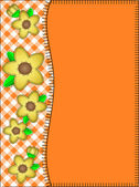 Eps10.  Vector orange copy space with a side border of gingham and yellow flowers with quilting stitches. — Stockvector