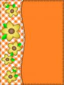 Eps10.  Vector orange copy space with a side border of gingham and yellow flowers with quilting stitches. — Stock Vector