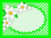 Eps10.  Vector border with oval copy space, flowers, gingham and dots in green, white containing quilting stitches. — Stock Vector