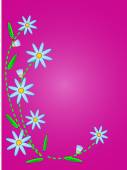 Eps10.  Vector blue cornflowers on a pink copy space with quilting stitches. — Stock Vector