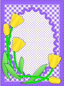 Eps10.  Vector border with oval copy space, flowers, gingham and dots in purple, white containing quilting stitches. — Stock Vector
