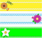 Eps10.  Three vector borders with copy space, flowers, stripes, gingham and dots in green, blue, yellow, white while containing quilting stitches and ric rac. — Vetorial Stock