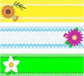 Eps10.  Three vector borders with copy space, flowers, stripes, gingham and dots in green, blue, yellow, white while containing quilting stitches and ric rac. — Stock Vector