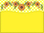 Eps10.  Orange zinnia on yellow gingham with copy space and quilting stitches. — Vector de stock