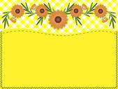 Eps10.  Orange zinnia on yellow gingham with copy space and quilting stitches. — Vecteur