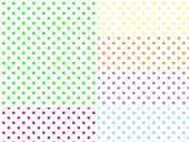 Eps8.  White background swatches with polka dots in six colors. — Vettoriale Stock