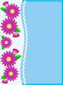Eps10 vector.   Blue copy space with a side trim of Pink zinnias on top of polka dot background complemented by ric rac and quilting stitch accents. — Stockvector