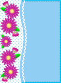 Eps10 vector.   Blue copy space with a side trim of Pink zinnias on top of polka dot background complemented by ric rac and quilting stitch accents. — Stok Vektör