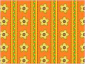 Eps10.   Floral vector orange striped wallpaper background with yellow flowers, bud vine and quilting stitches. — Stock Vector