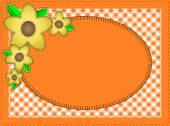 Vector eps10.  Oval orange copy space with gingham matting, quilting stitches and yellow flowers. — Stock Vector