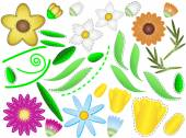 Vector eps8 various simple flowers, buds and leaves  with quilting stitches that you can assemble any way you want. — Stock Vector