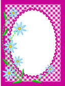 Vector eps10 white oval copy space trimmed in ric rac on top of a pink gingham background trimmed with blue cornflowers containing quilting stitches. — Stock Vector